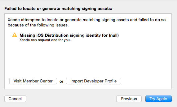 missing ios distribution signing identity for null